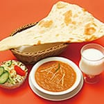 Jセット マトン(羊)カレー(Mutton Curry+Naan+Salad)
