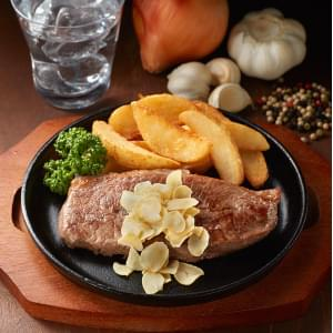 ミスジステーキ弁当ステーキソースガーリックチップ300グラムサイズ