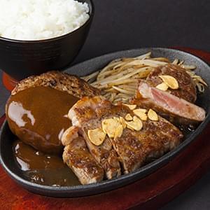 店長自慢の肉厚熟成サーロインステーキ&焼き立て熟成肉厚手ごねハンバーグ(ライス付) 各200g