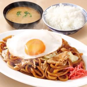 なにわ太麺 豚ソース焼きそば(麺並)【目玉焼き付】定食(ご飯普通+みそ汁)セット