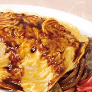 なにわ太麺 豚ソース【オム】焼きそば(麺大盛)