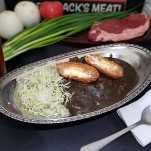 チーズinごちそうメンチ和牛黒カレー【お得な烏龍茶セット】