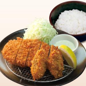 【20%OFF】ロースかつ&カキフライ定食(カキ2個)