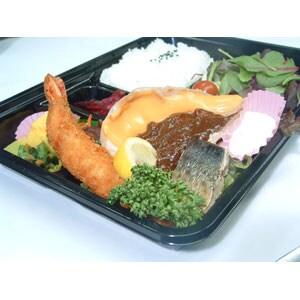 ポークソテーレッドチェダーチーズ・大海老フライ・焼き魚 弁当
