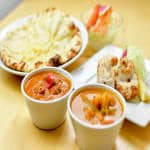 7 レディースセット Seafood Curry + Mix Vegetable Curry + Chicken Malai Kabab 2pcs + Salad + Cheese Nan