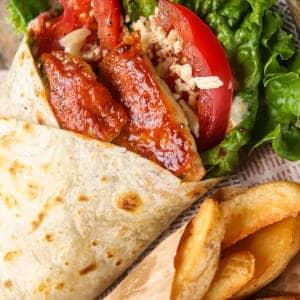 爆誕‼食べ応え抜群のタンドリーラップサンド ポテト付き