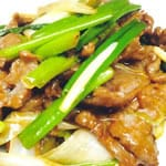 牛肉と長ネギの炒め/Stir fried Beef and scallions