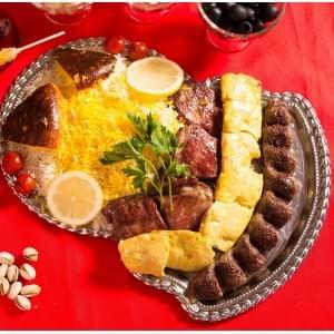 【77】スペシャルペルシアンケバブセットとサフランライス/Special Persian Kebab Set and Saffron Rice