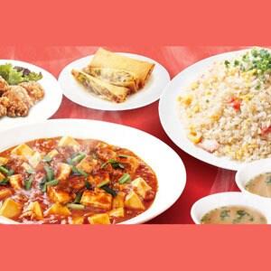 桃花飯店Aセット(炒飯W・春巻き2・唐揚げ5・みそ汁2・麻婆豆腐)