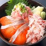 豪華三色丼(1人前) Fresh Salmon、crab & Toro Bowl(1serving)