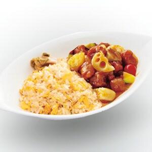 上海エクスプレス W-58 炒飯プレート(山芋レンコン酢豚)