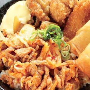 豚キムチ丼(500)(唐揚2+コロッケ1+春巻1)