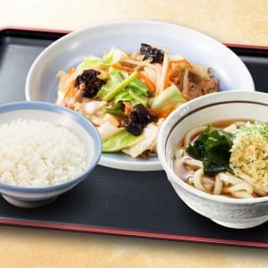 6種野菜の野菜炒め定食 セットうどん付き