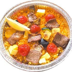 ステーキと彩野菜のパエリア