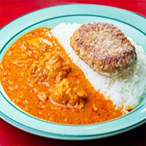 ハンバーグ インドチキンカレー