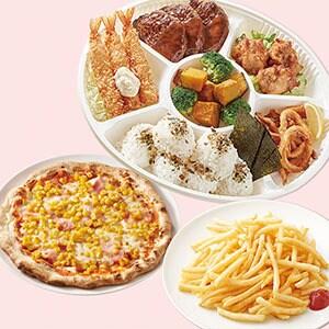 ジョナサン キッズプレート&たっぷりコーンとベーコンのピザ&山盛りポテト