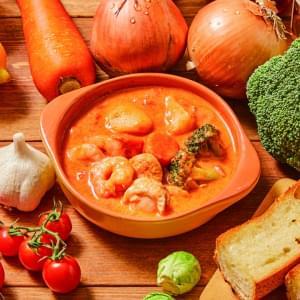 海老とホタテのトマトクリームスープ Shrimp & Scallop with Tomato Cream