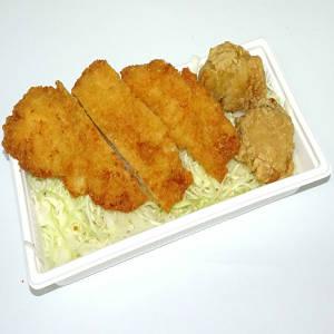 カリッとから揚げ&とりカツ<br>(白米・じゃこ飯・麺セットが選べます) 【3504】唐揚げとチキンカツ(おかずのみ)