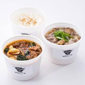 2色のカップ鍋 ごはんセット (3種のきのこと牛カルビの極みだし鍋+旨辛火鍋の牛カルビユッケジャン)