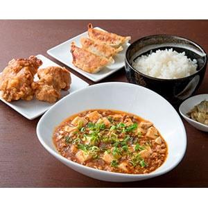 麻婆豆腐定食+餃子3個+唐揚げ2個