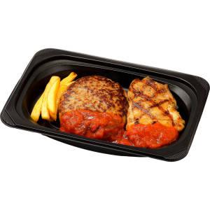 チーズinハンバーグ&直火焼きチキン トマトソース