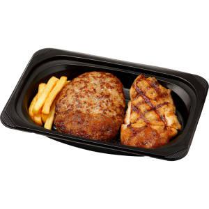 手ごねハンバーグ&直火焼きチキン オニオンソース