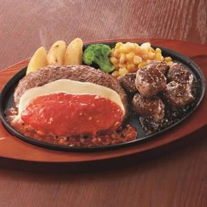 チーズハンバーグ&サイコロステーキ弁当
