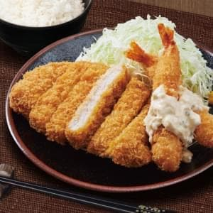 三元豚ロースカツと海老フライ弁当(エビ2)