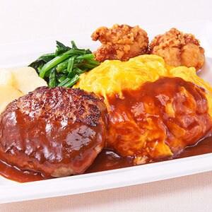 【K5】オムライス&ハンバーグプレート‐鶏の唐揚げ