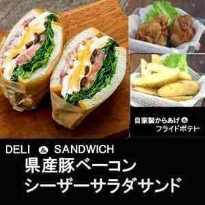 【1116c】熊本県産豚ベーコンシーザーサラダサンド&自家製からあげ