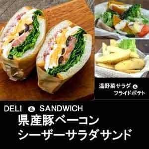 【1116a】熊本県産豚ベーコンシーザーサラダサンド&温野菜サラダ
