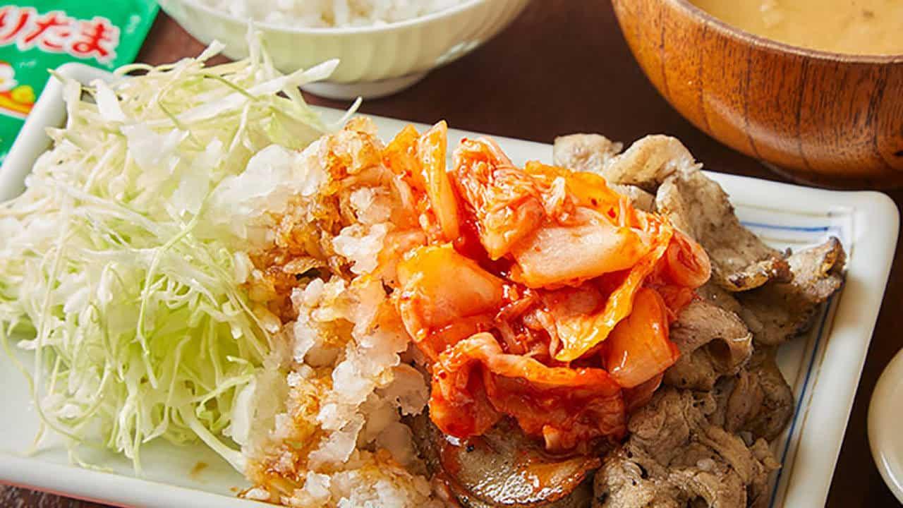 豚バラ炭火焼定食キムチおろしポン酢味