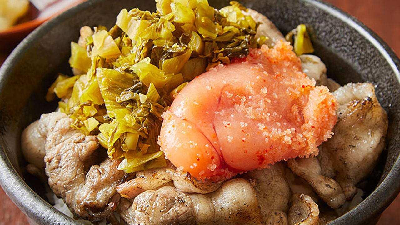 明太子と高菜の豚丼