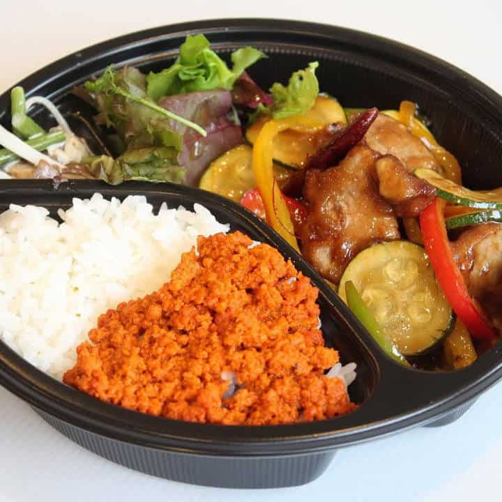 季節野菜の豚の黒酢炒め弁当 Seasonal vegetable pork with black vinegar fried lunch